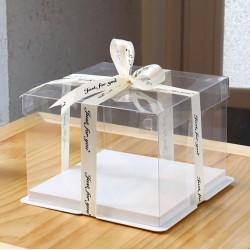 Single Layer Square White Clear Cake Box