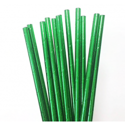Green Metallic Paper Straw