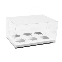 Clear White Cupcake Box for 6 Cups