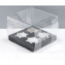 Clear Black Cupcake Box For 4 Cups
