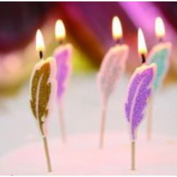 Glitter Feather Candle