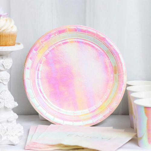 Round Metallic Rose Gold Paper plate