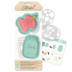 Flower & Jars Cookies Cutters With Stencils
