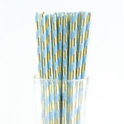 Metallic Blue & Gold Paper Straw