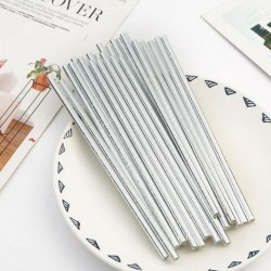 Silver Metallic & Stars Paper Straw