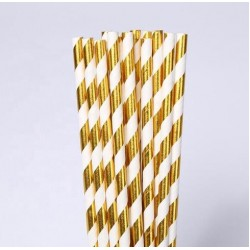 White & gold Paper Straw