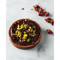 Dark Chocolate Tart With Rose & Pistachio