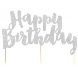 Happy Birthday Silver Glitter Cake Topper